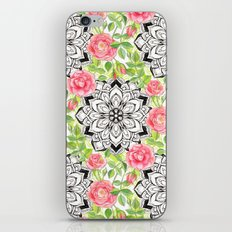 Peach Pink Roses and Mandalas on Lime Green and White iPhone & iPod Skin
