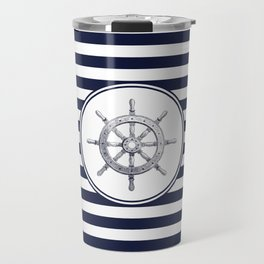 Steering Wheel and Navy Blue Stripes Travel Mug