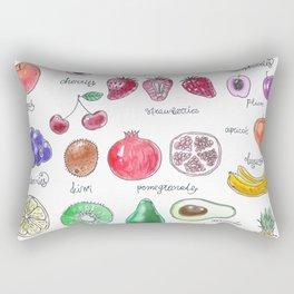 Watercolor painting of various fruts Rectangular Pillow