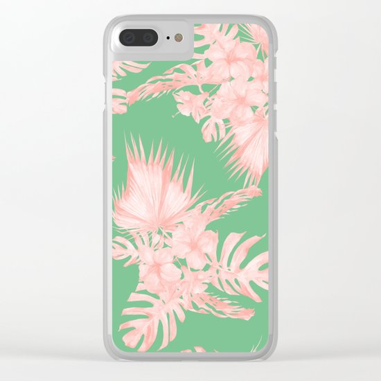 Dreaming of Hawaii Seashell Pink + Green Clear iPhone Case