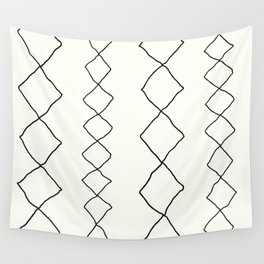 Moroccan Diamond Stripe in Black and White Wall Tapestry