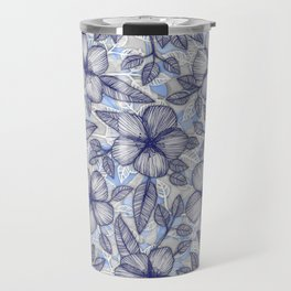 Indigo Summer - a hand drawn floral pattern Travel Mug