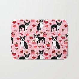Boston Terrier valentines day cupcakes hearts love pet friendly custom dog breed portraits Bath Mat