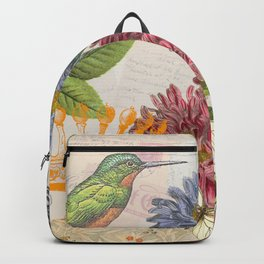 Dahlia Flowers with a Bird and a Crown Backpack