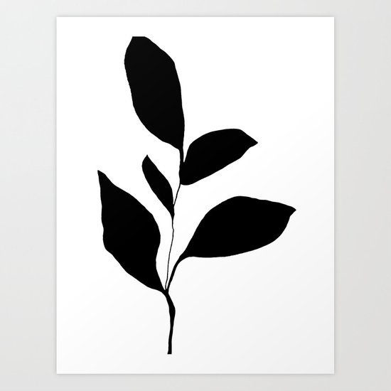 Five Leaf Plant Black Silhouette by mininst