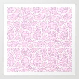 Paisley (Pink & White Pattern) Art Print