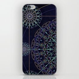 Neon Geometry in Blue Mandala iPhone Skin