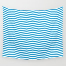 Oktoberfest Bavarian Blue and White Chevron Stripes Wall Tapestry