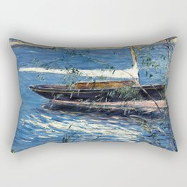 """Gustave Caillebotte """"Boat at anchor on the Seine at Argenteuil"""" Rectangular Pillow"""