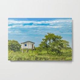 Traditional Cane House at Tropical Meadow, Guayas District, Ecuador Metal Print