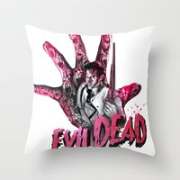 """evil dead Throw Pillows featuring """"EVIL DEAD"""" BRUCIE IS BACK by Superdroso"""