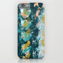 026: a vibrant abstract design in teal peach and yellow by Alyssa Hamilton Art iPhone Case