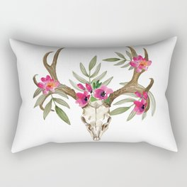 Bohemian deer skull and antlers with flowers Rectangular Pillow