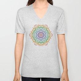 Floral Mandala A - Rainbow Line Unisex V-Neck