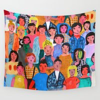 faces Wall Tapestries featuring Faces by Rita Santa Marta