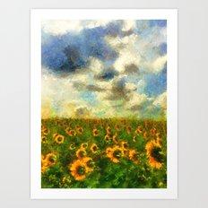 Classical style sunflowers Art Print