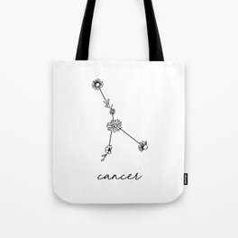 Cancer Floral Zodiac Constellation Tote Bag