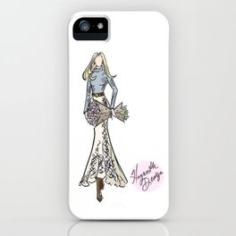 """Hayworth Design Fashion Illustration """"Fashionable Country Western Girl with Flowers"""" iPhone Case"""