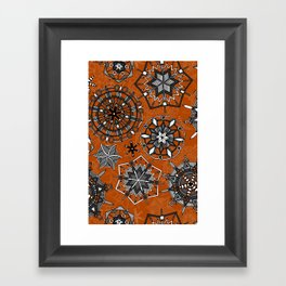 mandala snowflakes orange Framed Art Print