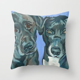 Emily and Annabel Dog Portrait Throw Pillow