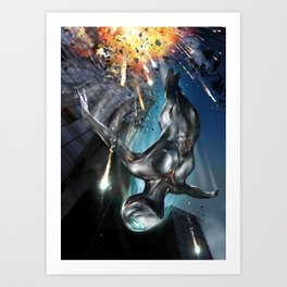 The Silver Ninja Night Explosion Art Print