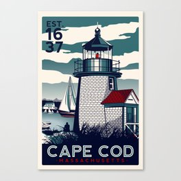 CAPE COD  Massachusetts Light House Retro Vintage nautical cape cod Canvas Print