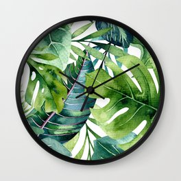 Tropical Jungle Leaves Wall Clock