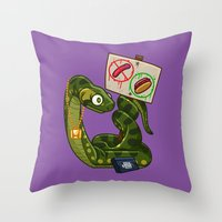 anaconda Throw Pillows featuring Anaconda Buns by Artistic Dyslexia