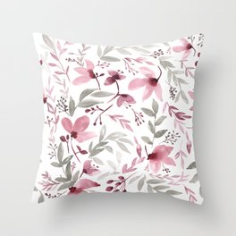 Rustic Floral - Watercolor Flowers Burgundy Pink Throw Pillow