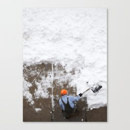 Shoveling Snow Canvas Print
