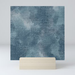 Abstract Grunge Art in Slate Blue and Gray Mini Art Print