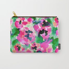 Abstract Flora Green Carry-All Pouch