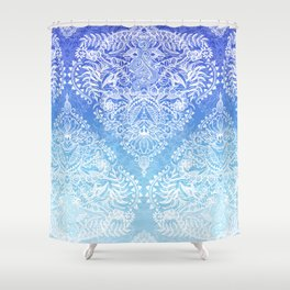 Out of the Blue - White Lace Doodle in Ombre Aqua and Cobalt Shower Curtain