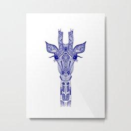 GIRAFFE BLUE Metal Print