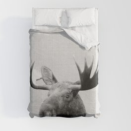 Moose - Black & White Duvet Cover