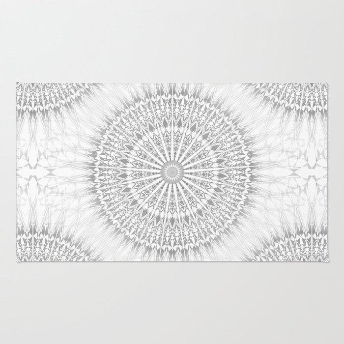 Gray White Mandala Rug