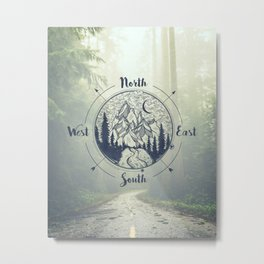 Compass Mountain Road Trip Metal Print