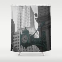 clock Shower Curtains featuring Clock by eckoepp
