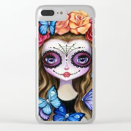 Sugar Skull Butterfly Clear iPhone Case