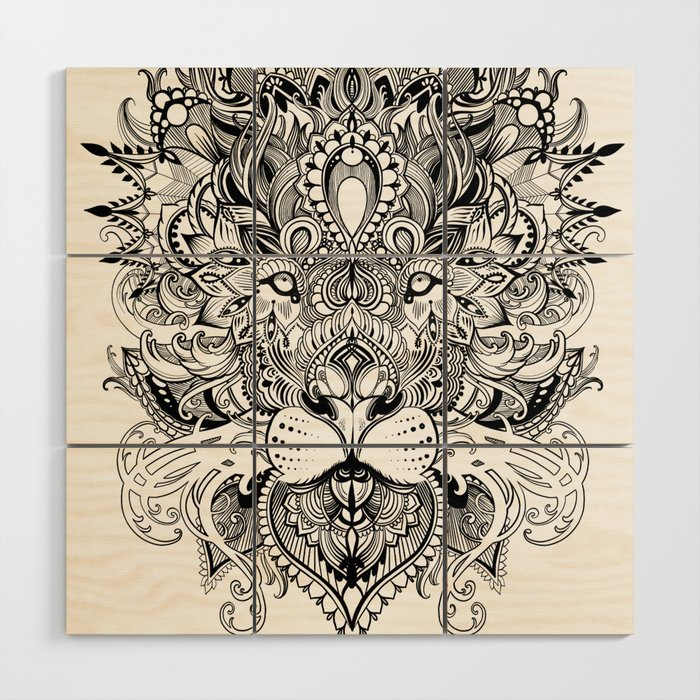 Black And White Geometric Pattern Mandala Lion Face Wood Wall Art By Sarachnid