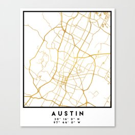 AUSTIN TEXAS CITY STREET MAP ART Canvas Print