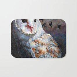 Owl Of The Blood Moon Heart Bath Mat