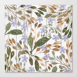 Rustic white wood green lavender watercolor floral Canvas Print