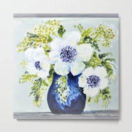 Anemones in vase Metal Print