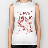 cooking Biker Tanks featuring Love cooking by Poizon Poizon