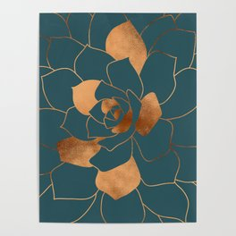 Abstract Metal Copper Blossom on Emerald Poster