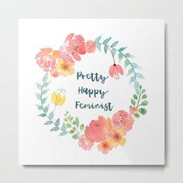 Pretty Happy Feminist Watercolor Floral Wreath Metal Print