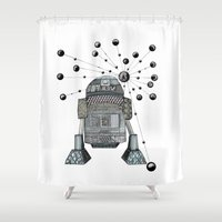 r2d2 Shower Curtains featuring R2D2 by Svenningsenmoller Design