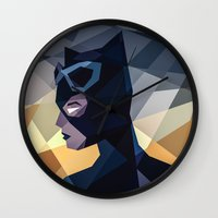 dc comics Wall Clocks featuring DC Comics Catwoman by Eric Dufresne