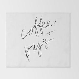 coffee + pugs Throw Blanket